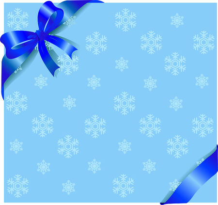 Winter background with blue ribbon and bow. Place for copytext. Vector