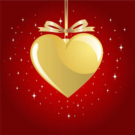 Gold Valentine Heart on red background with a place for copytext Vector