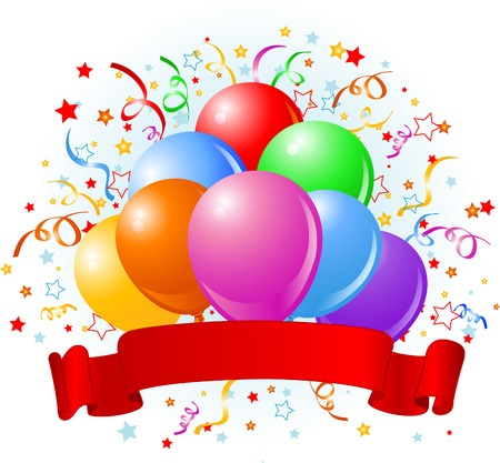 ribbons: Birthday design with balloons, confetti & copy space ribbon.  Illustration