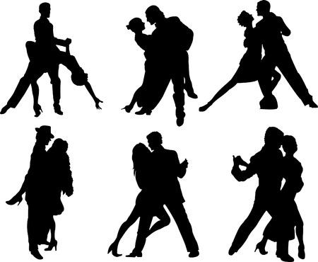 Ensemble de silhouettes de danseurs de tango. Illustration vectorielle Vecteurs