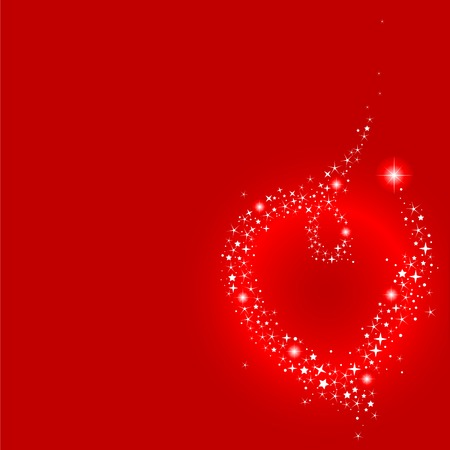 star field: illustration of shooting star making heart shape, with place for copytext