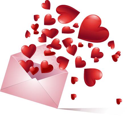 Envelope with bursting hearts. Vector illustration Vector