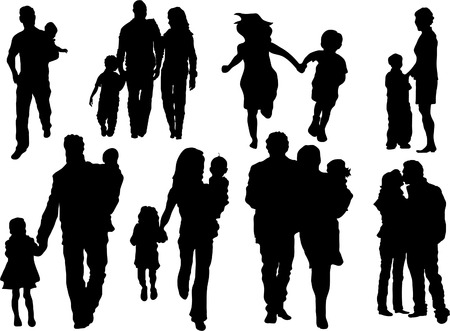 Vector set of happy family silhouettes  Vectores