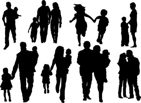 Vector set van gelukkige familie silhouetten  Stock Illustratie