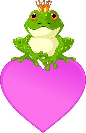 sapo principe: Frog Prince a la espera de ser besado, sentado en la tarjeta de lugar de forma de coraz�n