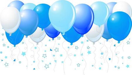 Vectorillustratie van het bos van blauwe ballonnen opvliegende