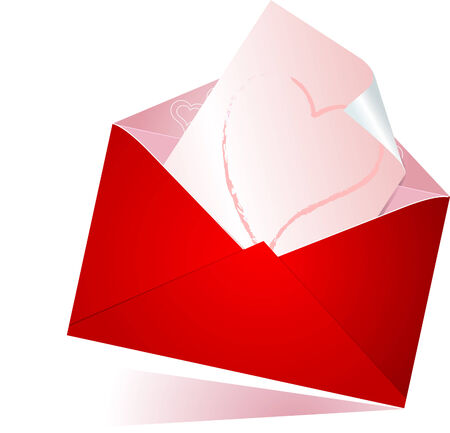 Vector illustration of red envelope with love letter