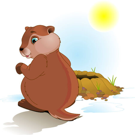 Illustration for Groundhog Day. Groundhog looking at his shadow.   Vector