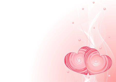 Valentine�s Day Romantic vector background with hearts and pearls Vector