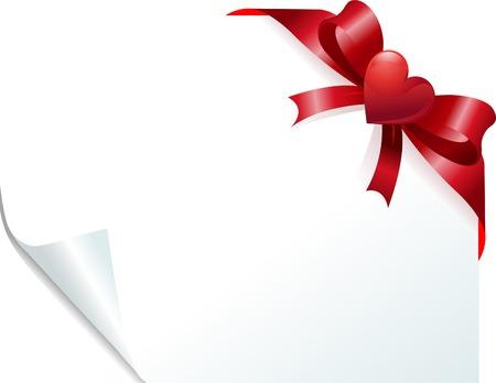 Angolo di pagina con nastro di cuore rosso sulla carta arricciata. Posto per copiare/testo.  Archivio Fotografico - 6218339