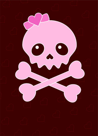 heart very: Very cute Skull and heart place card with place for copytext