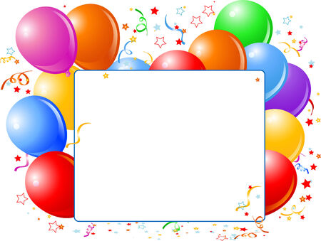 Vector Illustration of blank place card with balloons  and confetti.   Vector