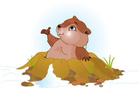 hole: Vector illustration of a cute groundhog popping out of a hole. Illustration