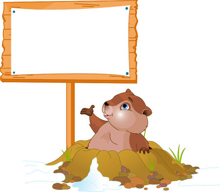 Vector illustration of a cute groundhog popping out of a hole near billboard Vector