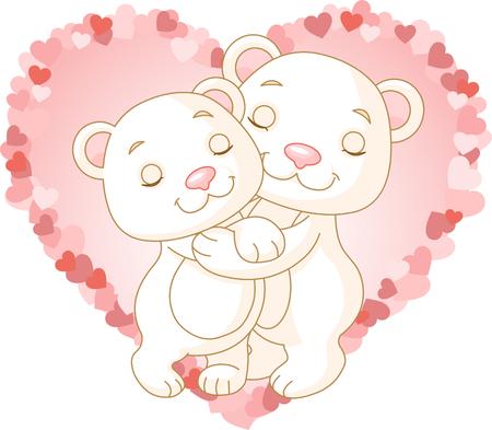 Two very cute polar bears in love Vector