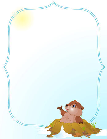 groundhog: Vector background of a cute groundhog popping out of a hole