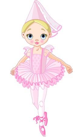 Illustratie van een schattige kleine ballerina gekleed als prinses