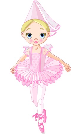 period costume: Illustration of a cute little ballerina dressed like princess