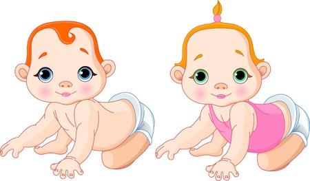 positivism: Illustrazione vettoriale molto carino dei toddlers strisciante