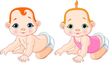 Very cute vector illustration of creeping toddlers  Stock Vector - 6247222