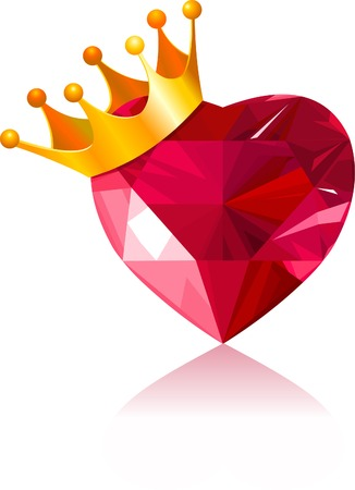 heart with crown: Shiny crystal love heart with gold crown