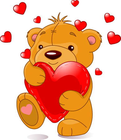 Very cute Teddy beer met rood hart, geïsoleerd op de witte Stock Illustratie
