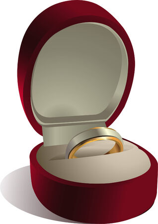 Wedding ring in red box, isolated on white background