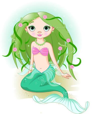 illustration of a cute mermaid girl. Vector