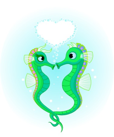 animal mating: Illustrations of two Seahorses in love