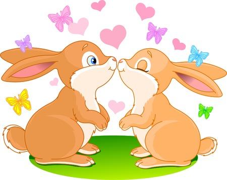 Deux lapins cute amoureux sur la prairie de printemps