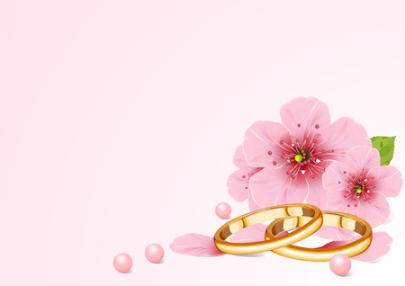 color ring: wedding concept with cherry blossom. Place for copytext