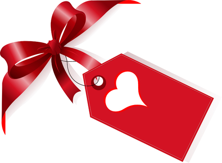 Page corner with red ribbon, bow and label with heart. Place for copytext. Vector