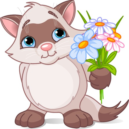 Vector illustration of cute kitten stretches flowers