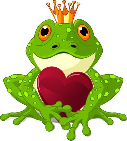Prince Grenouille en attente d'être embrassée, tenant un coeur.