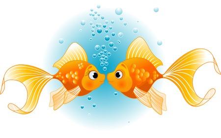 Twee gouden vissen in de liefde voor kus