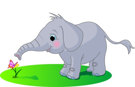 Cute baby elephant looks at the butterfly  Ilustrace