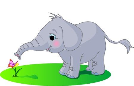 Lindo bebé elefante mira la mariposa  Ilustración de vector