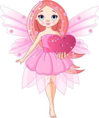 Beautiful love fairy holding heart. Vector illustration Illustration