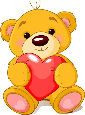 oso: Ilustraci�n vectorial de cute peque�o oso de peluche sosteniendo el coraz�n rojo.