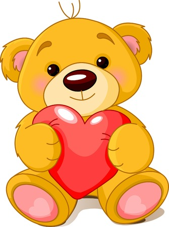 cartoon bear: Vector illustration of cute little Teddy bear holding red heart.  Illustration