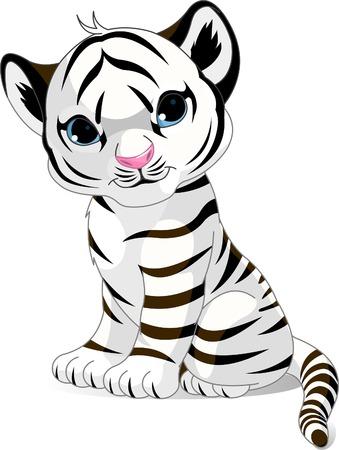 tiger cub: Un caract�re cute de s�ance Tigre blanc cub.