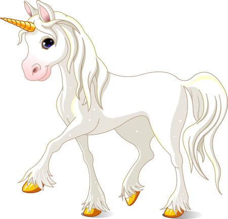 Vector Illustration of walking Beautiful White Unicorn