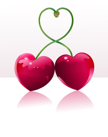 cherries isolated: Two Cherry hearts and cherry sticks shows a heart-shape