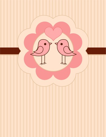 Place card of two cute birds pressing together