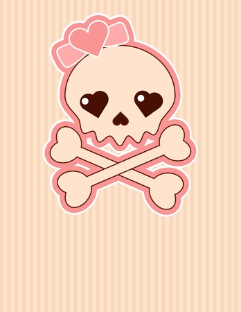 skull with crossbones: Very cute Skull place card with place for copytext Illustration