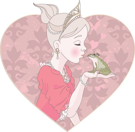 Fairytale Princess kissing a frog hoping for a prince. Vector