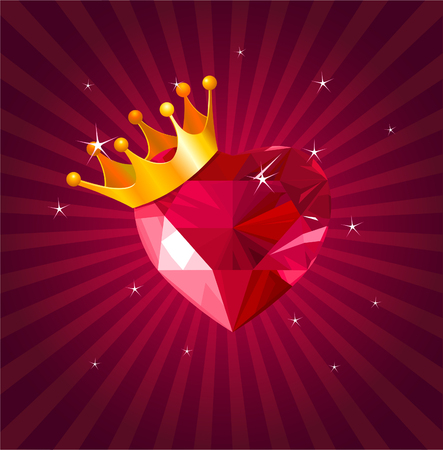 Shiny crystal love hearts with gold crown on radial background