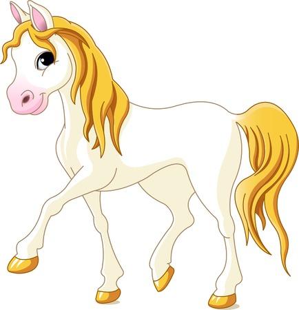 Illustration of beautiful walking white horse