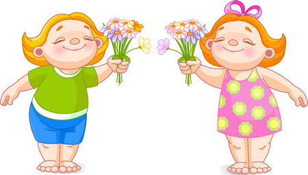 The image of cute babies with bouquets.