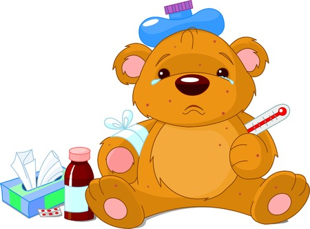 A sick Teddy Bear with thermometer, hot water bottle, peels and a bottle of medicine. Rash and Bear  are on separate layers. Illustration